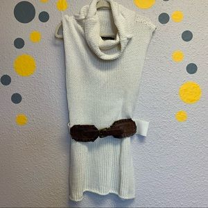 Mustard seed cream Sweater belted top sleeveless